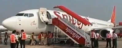 Spicejet Wing Hits Post on Runway