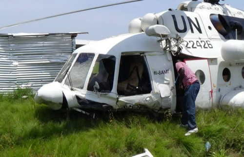 UN Chopper Down in Monrovia with Injuries