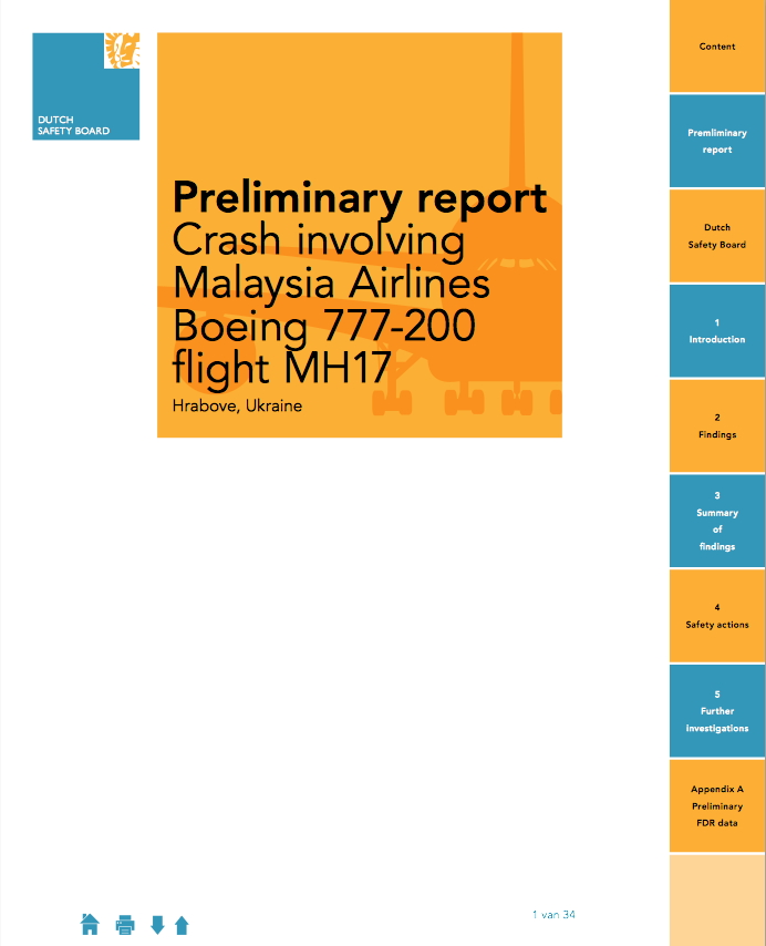 View the full Preliminary report: Malaysia Airlines Boeing 777-200